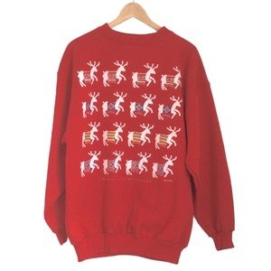 VINTAGE Marci Lipman Red Reindeer Christmas Sweatshirt Size XL